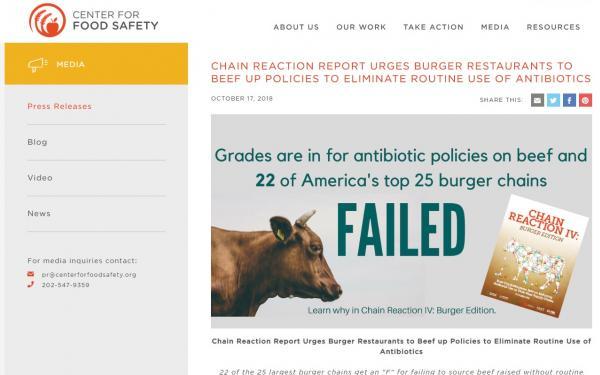 アメリカにあるハンバーガーチェーン25社の牛肉の抗生物質量を検査